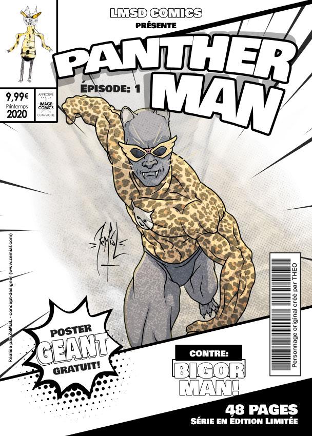 Illustration façon comics du personnage original PantherMan
