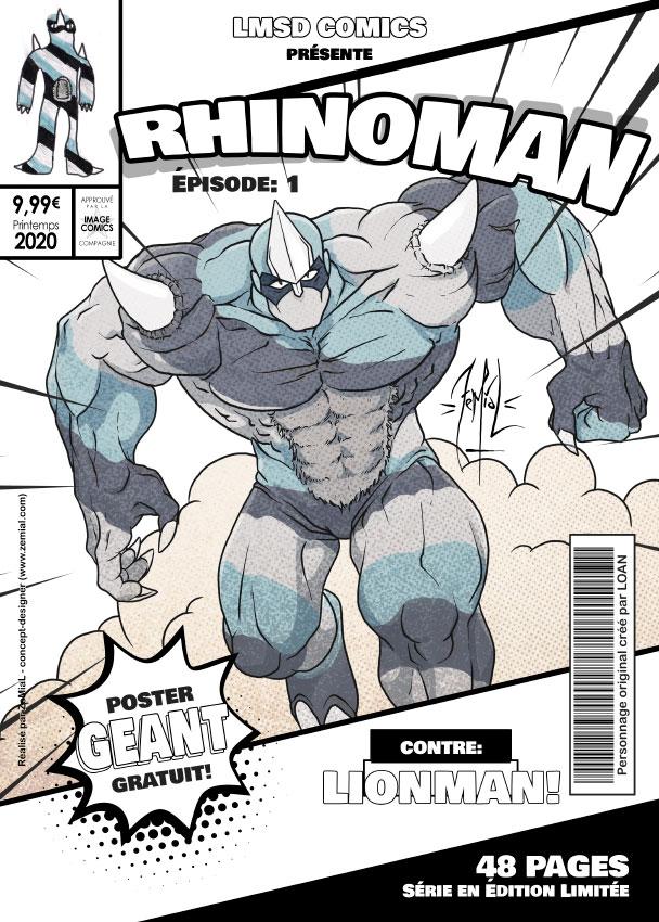 Illustration façon comics du personnage original Rhinoman