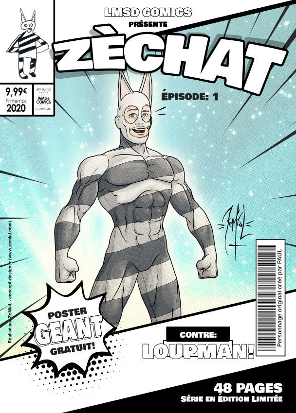 Illustration façon comics du personnage original Zechat