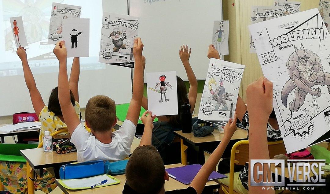Photo des élèves montrant leur personnage CM1verse