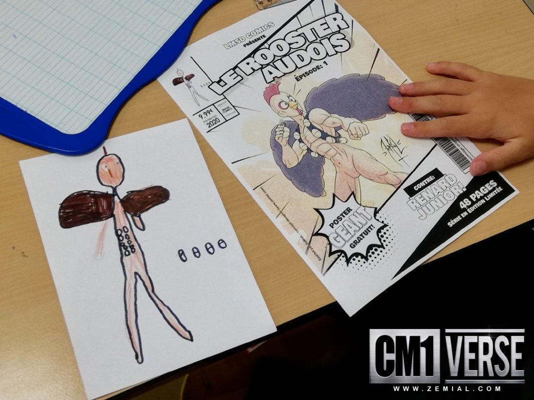 Un personnage CM1verse posé sur le bureau d'un élève