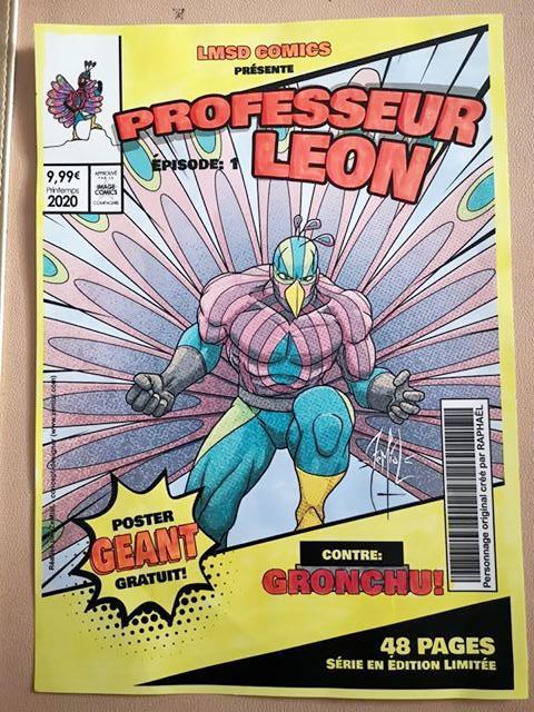 La couverture du professeur Leon mis en couleur par l'élève