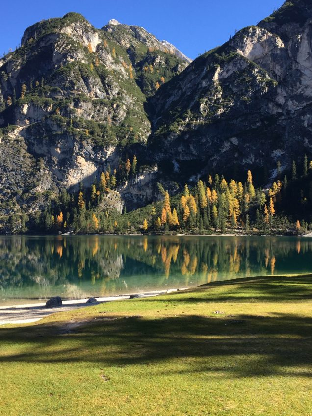 Lake Braies Dolomites in fall