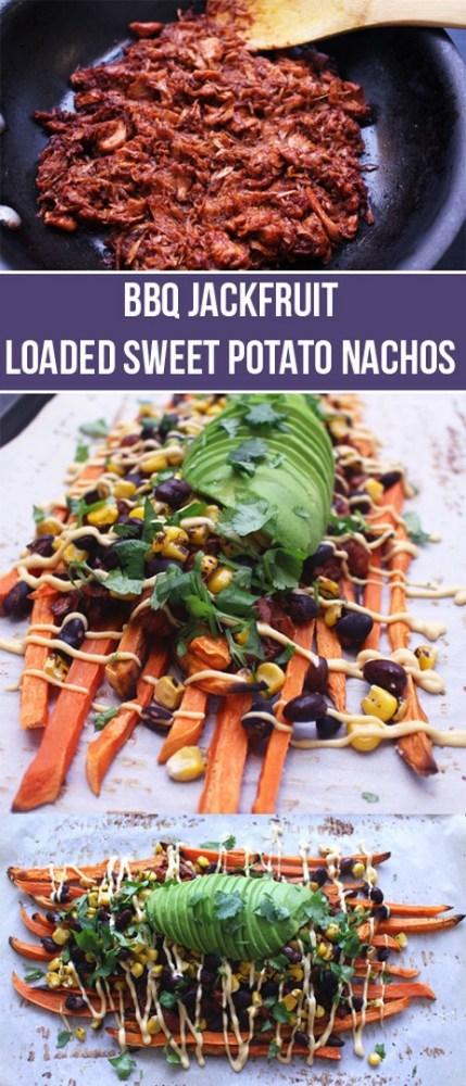 BBQ Jackfruit Loaded Sweet Potato Nachos (Vegan) | Zena 'n Zaatar