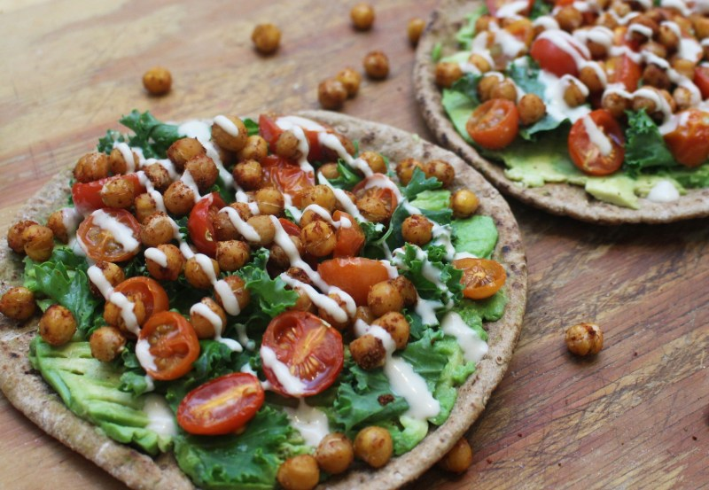 avocado pita with spiced chickpeas and tahini