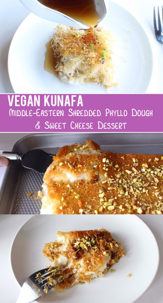 Vegan Kunafa (Knafeh) - Middle Eastern Shredded Phyllo & Sweet Cheese Dessert | Zena 'n Zaatar