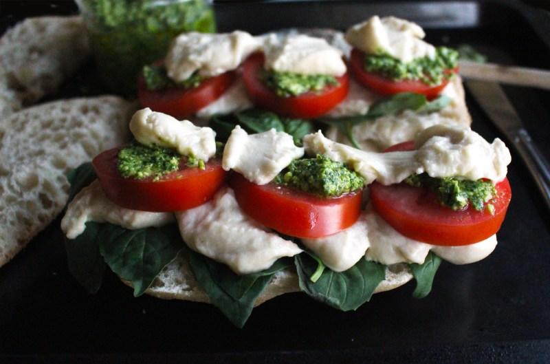 basil pesto caprese sandwich panini mozzarella vegan recipe food blog zenanzaatar zena zaatar