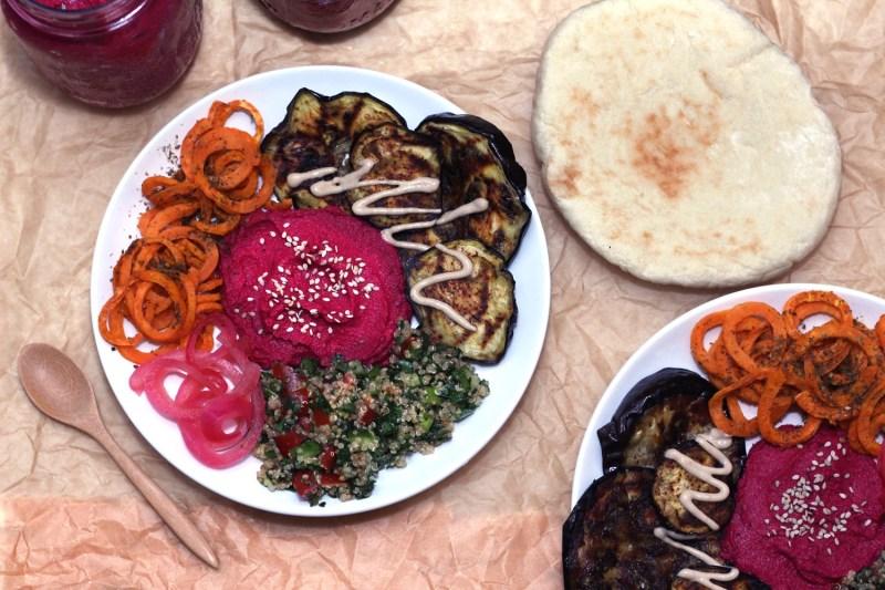 mediterranean veggie bowls buddha bowl vegetarian hummus zaatar zenanzaatar vegan gluten free food blog recipe beet eggplant tahini quinoa tabbouleh tabouli