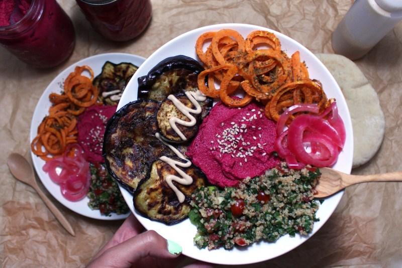 mediterranean veggie bowls buddha bowl hummus zaatar zenanzaatar vegan gluten free food blog recipe beet eggplant tahini quinoa tabbouleh tabouli