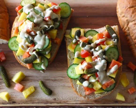 Tropical Fruit Sandwich with Creamy Vinaigrette (Vegan)