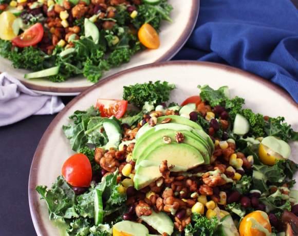 Tempeh Kale Taco Salad (Vegan, Gluten-Free)