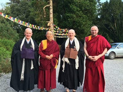 From left: Rev. Togen Mosss of the Sotoshu Europe Office; Venerable Panchen Ötrul Rinpoche of Jampa Ling Buddhist Centre; Rev. Myozan Kodo of Zen Buddhism Ireland; and Monk Lobsang of Jampa Ling. Pictured during the May Sesshin, 2016, at Jampa Ling.