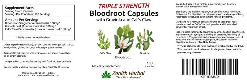 Triple Strength Bloodroot Capsules