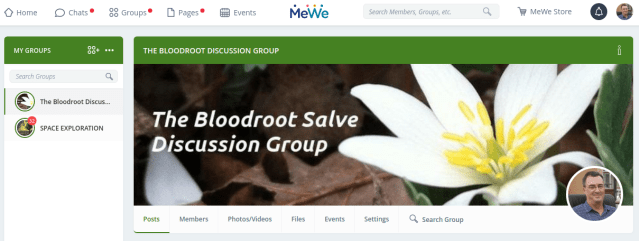 MeWe Bloodroot Discussion Group
