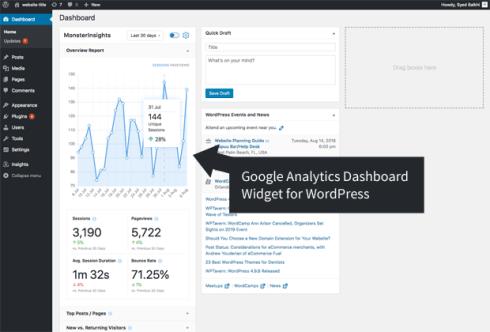 Google Analytics dashboard widget for WordPress