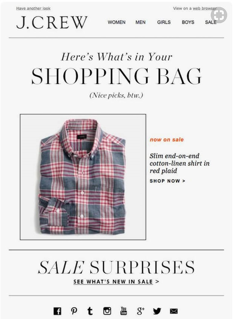 J. Crew Abandonment Cart Email Template