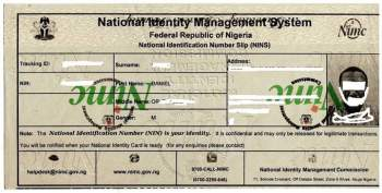 Temporary National Identity Card