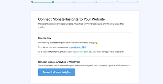 Connect monsterinsights to your web site