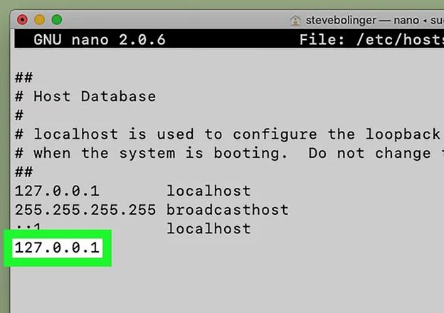 sudo nano /etc/hosts on mac