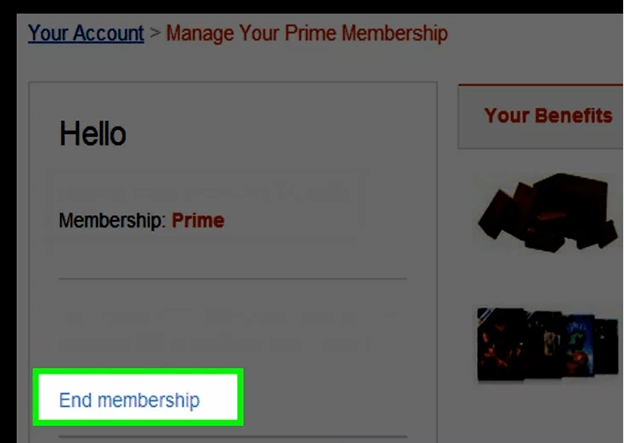 End membership Amazon prime free trial