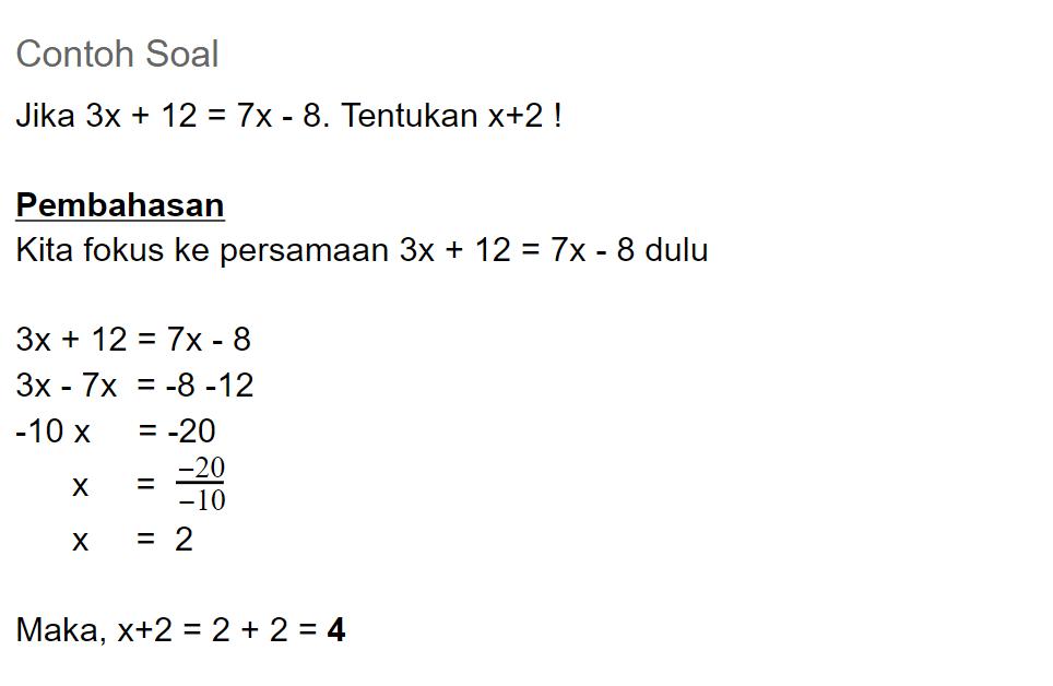 contoh soal persamaan linear satu variabel PLSV