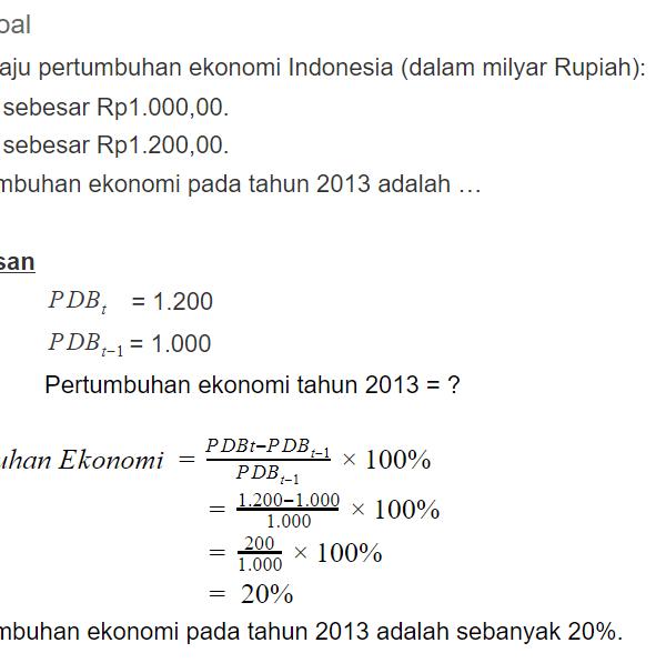 contoh soal pertumbuhan ekonomi