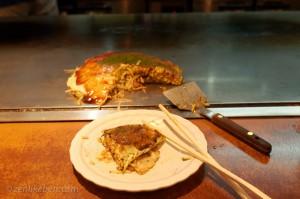 Delicous okonomiyaki hiroshima style with bacon, egg, and noodles!