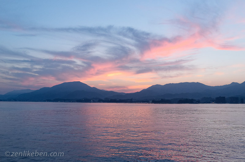 Sunset during the boat ride back from the Itsukushima Shrine