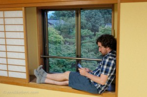 Relaxing in our room at Ninna-ji in Kyoto, Japan