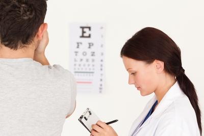 female optometrist eye exam