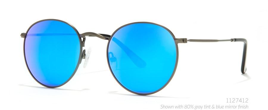 round blue lens glasses