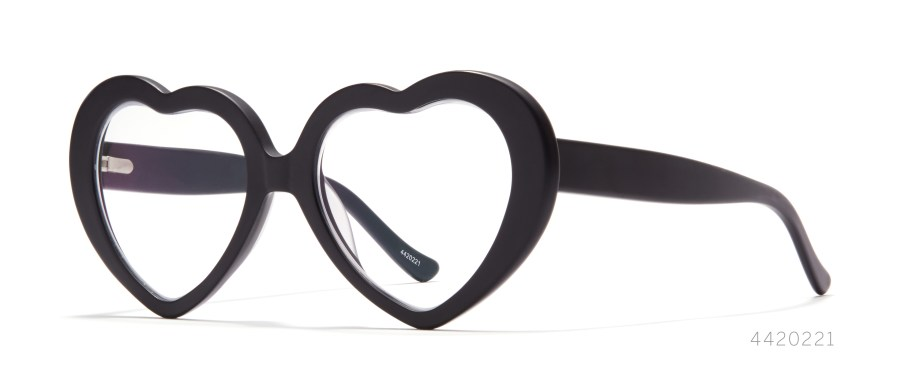 black heart shaped glasses