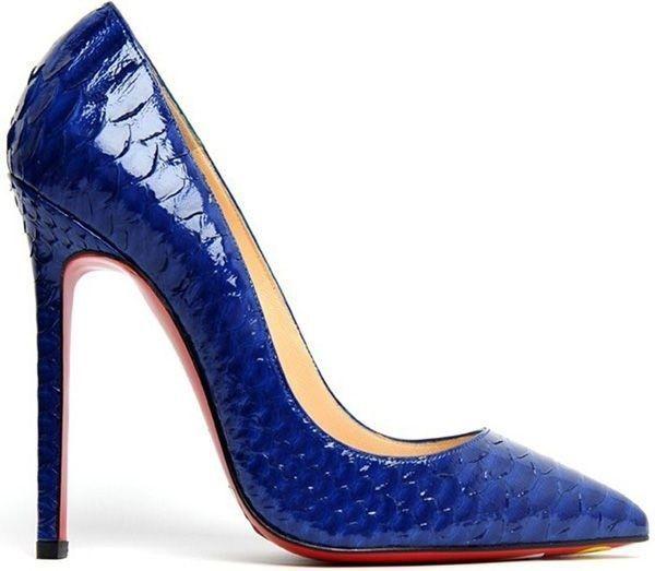 stiletto ayakkabı yılan derisi lacivert