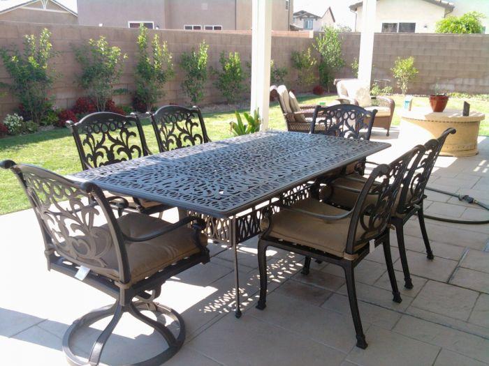 flamingo cast aluminum 7pc outdoor patio dining set with 44x84 rectangle table series 2000 antique bronze