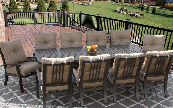 barbados cushion outdoor patio 11pc dining set for 10 person with 44x102 rectangle series 4000 table antique bronze finish