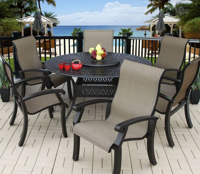 Barbados Sling Outdoor Patio 6 Person Dining Set With 60 Round Table Series 2000 All Standards Antique Bronze Finish Zenpatio
