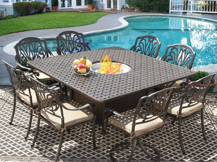 eli square 9 piece dining set with fire table