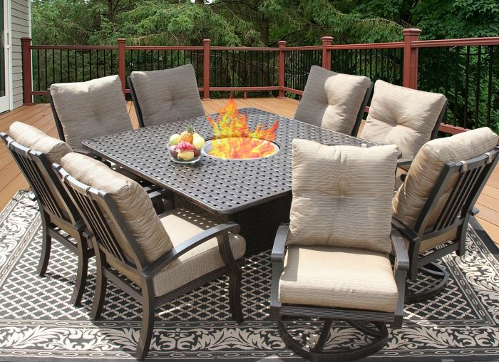 barbados cushion square outdoor patio 9pc dining set with fire table