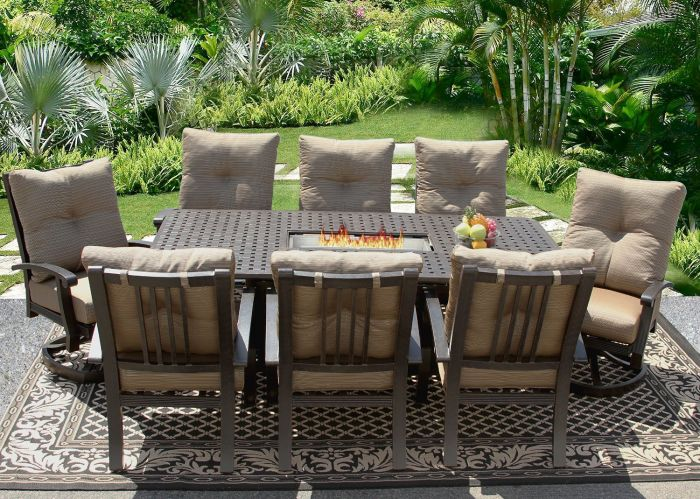 barbados cushion outdoor patio dining set for 8 person with fire table