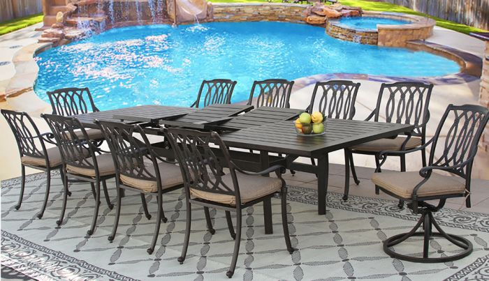 san marcos outdoor patio 11pc set 44x130 rectangle extendable dining table series 4000