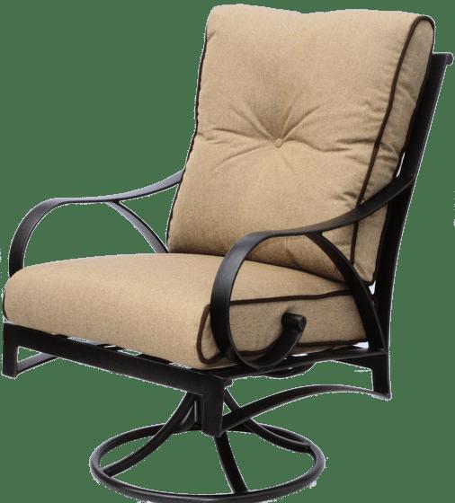 newport cast outdoor patio swivel rocker chair with sunbrella sesame linen cushion