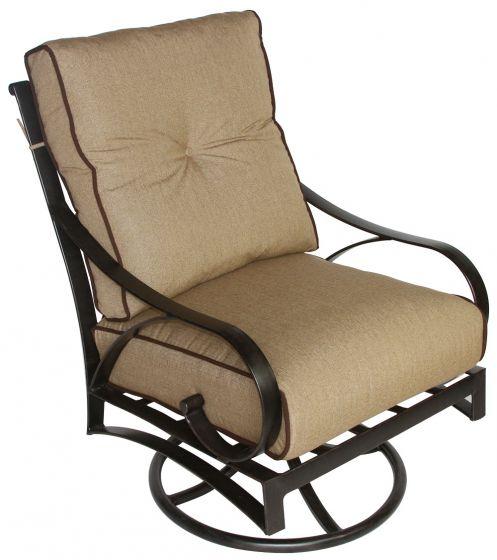 newport cast aluminum outdoor patio club swivel rocker chair with cushion