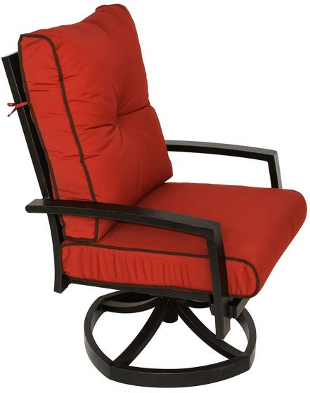 Quincy Cast Aluminum Outdoor Patio Swivel Rocker Chair With Sunbrella Henna Cushion Antique Bronze Zenpatio