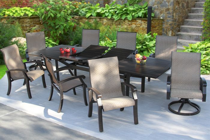 barbados sling patio 9pc dining set 44x130 extendable table series 4000