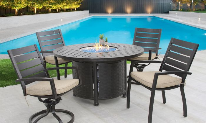 small quincy outdoor patio 5pc dining set with 50 inch round fire table series 4000