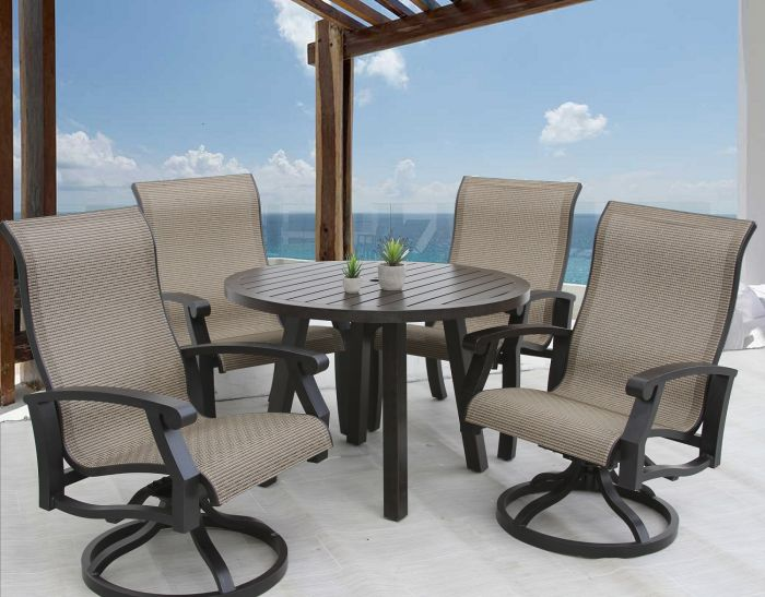 barbados sling outdoor patio 5pc dining set with 42 inch round table series 4000
