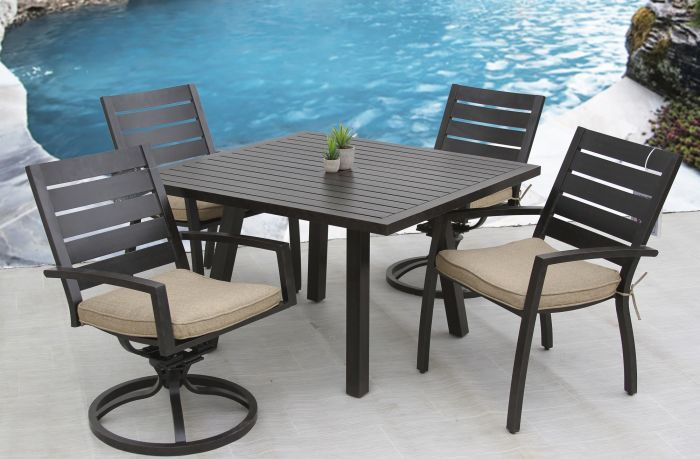 small quincy outdoor patio 5pc dining set with 44 inch square table series 4000
