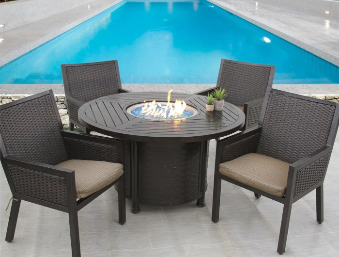 quincy wicker outdoor patio 5pc dining set with 50 inch round fire table series 4000