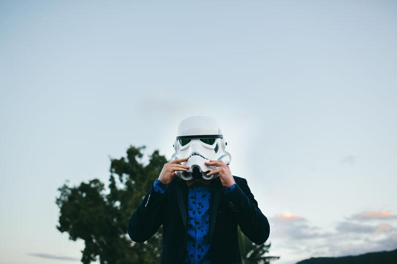 storm trooper star wars wedding photo