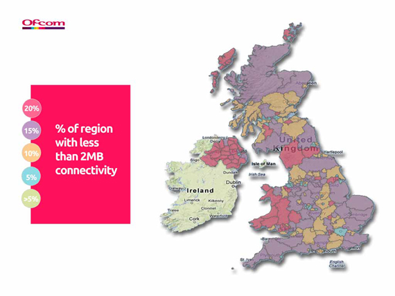 Ofcom broadband speed map for the UK